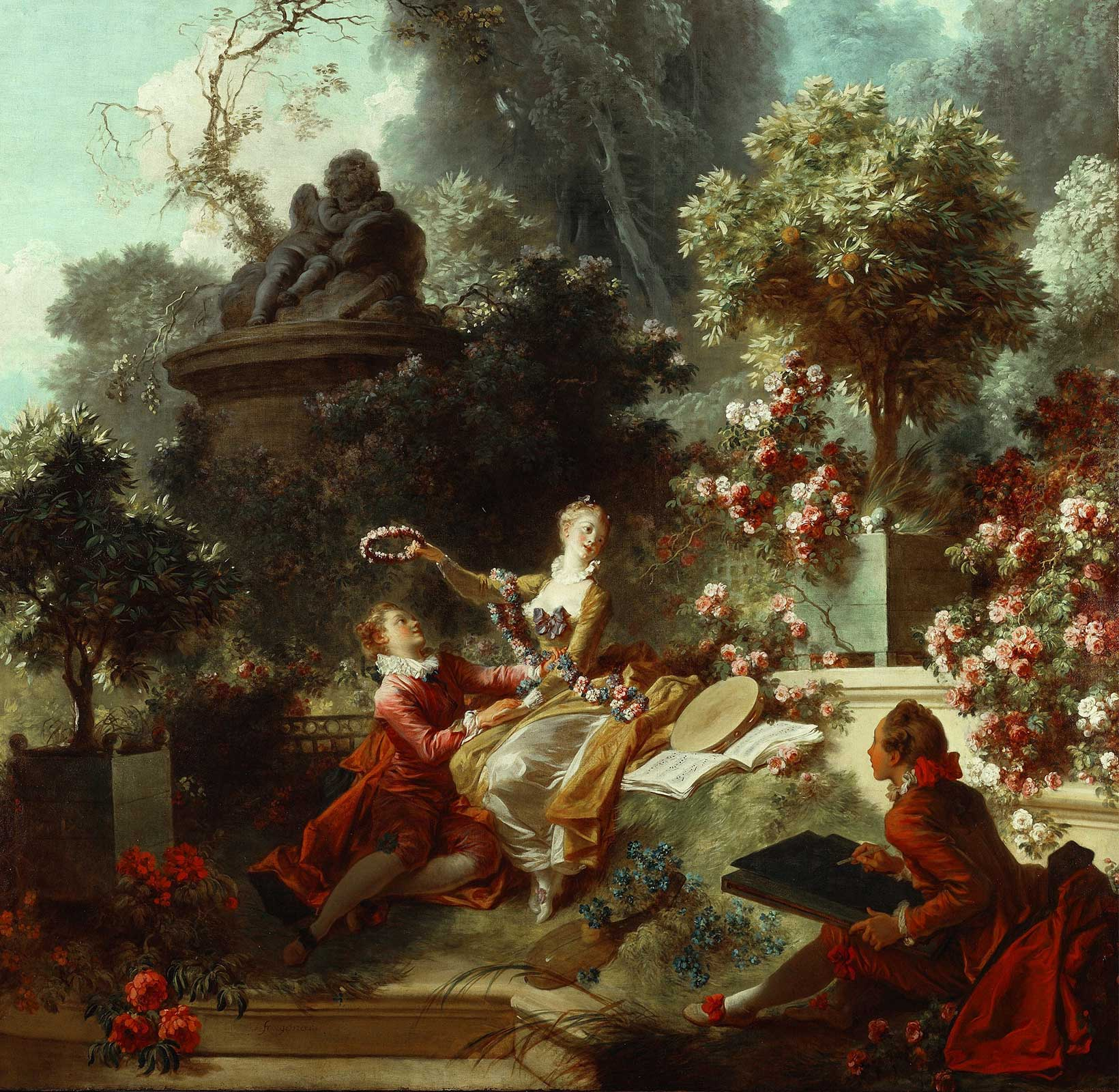 Jean Honoré Fragonard | The Progress of Love - The Lover Crowned (1771-73)