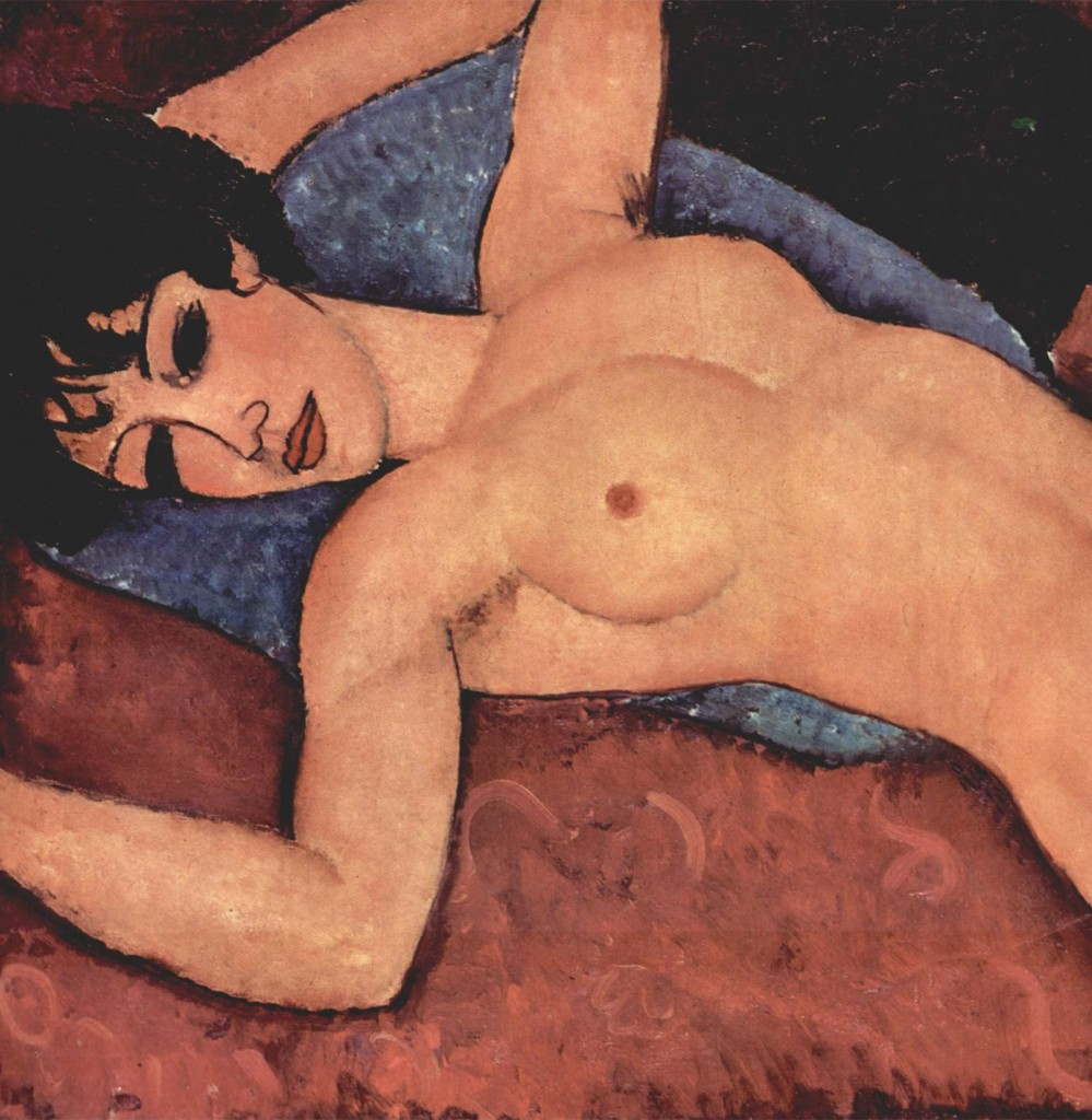 Erotic art painting of Amedeo Modigliani, Reclining Nude Painting (1917)