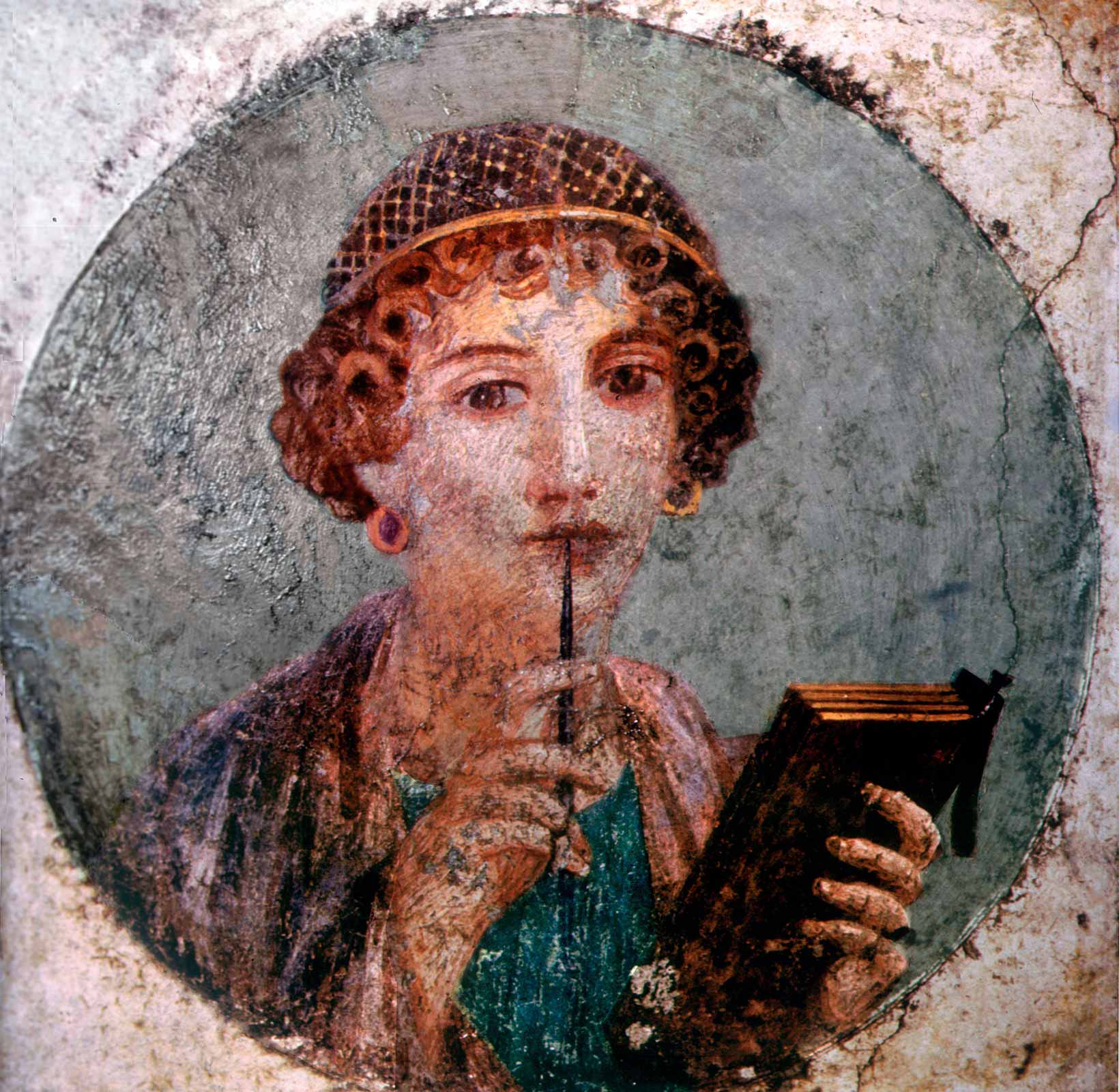 Portrait of Sappho by unknown artist in Campania, Italy C First century