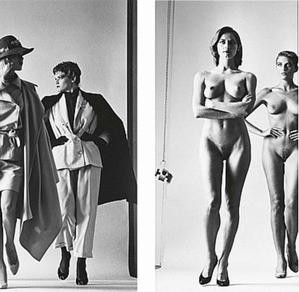Naked and dressed photograph by Helmut Newton in 1981