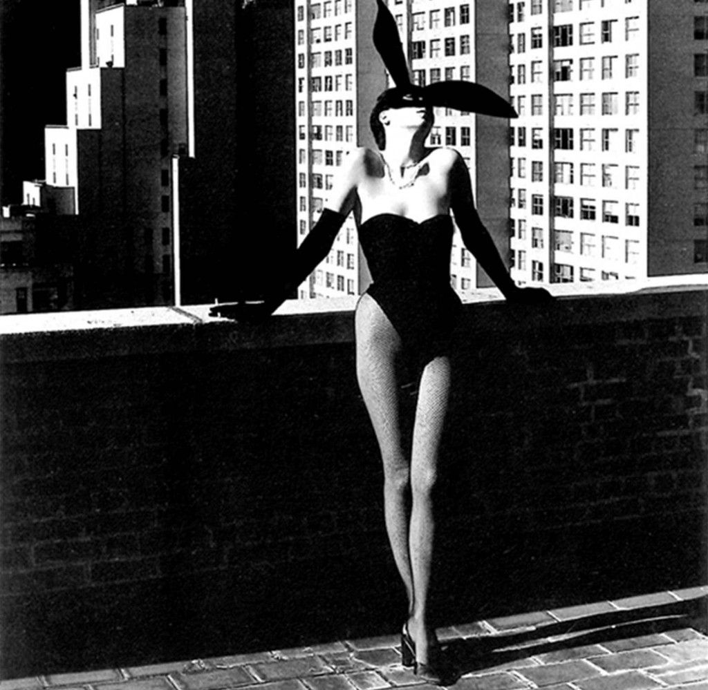 Elsa Peretti in a 'Bunny' costume by Halston, New York photographed by Helmut Newton in 1975