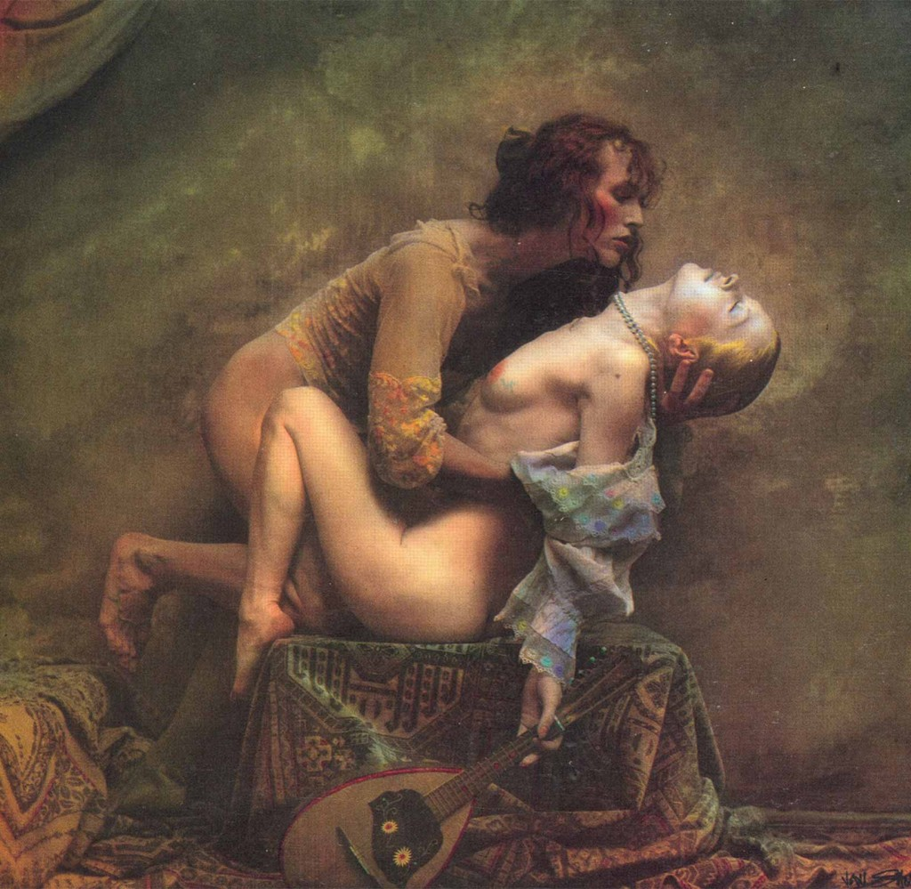 The mandolina lesson colored photograph by Jan Saudek
