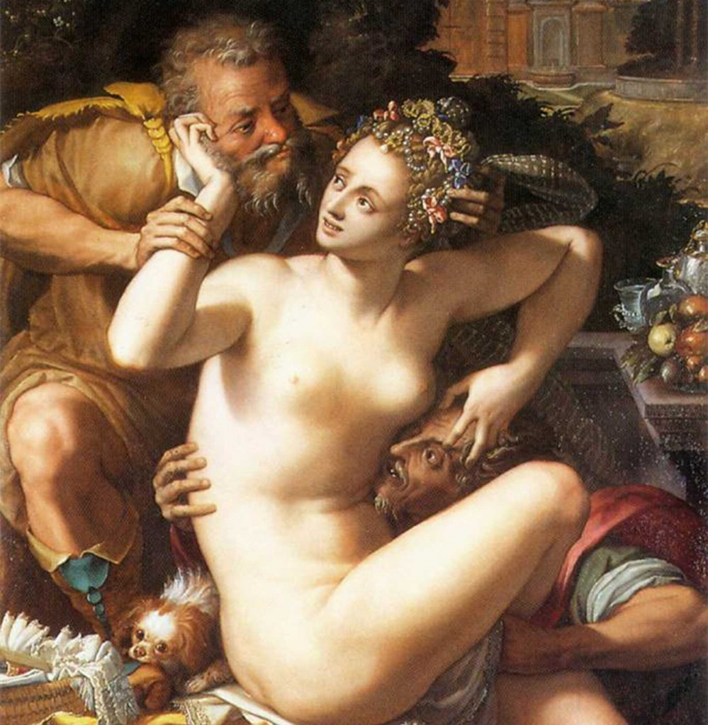 Alessandro Allori painting of Susanna and The Elders (male gaze)