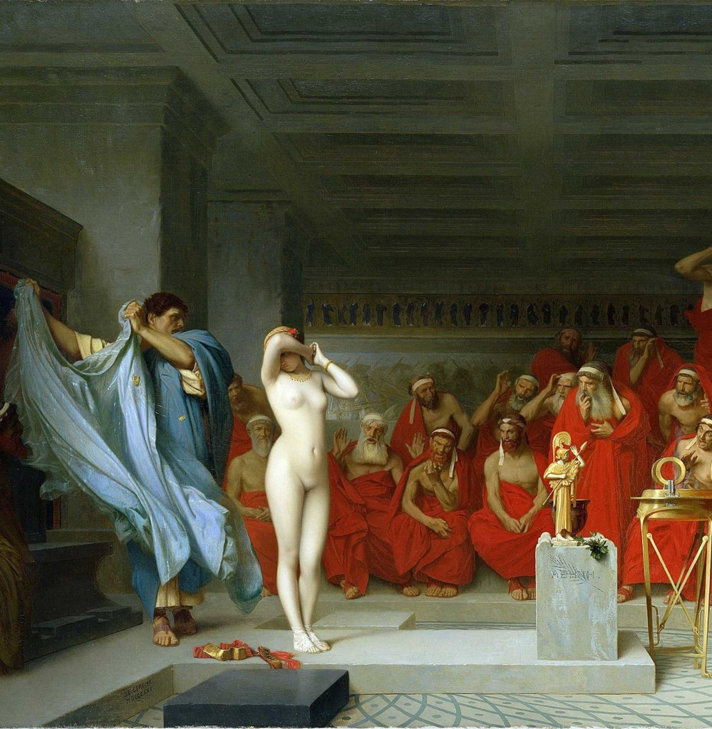 Jean-Léon Gérôme painting of the male gaze of Phryne before the Areopagus (1861)