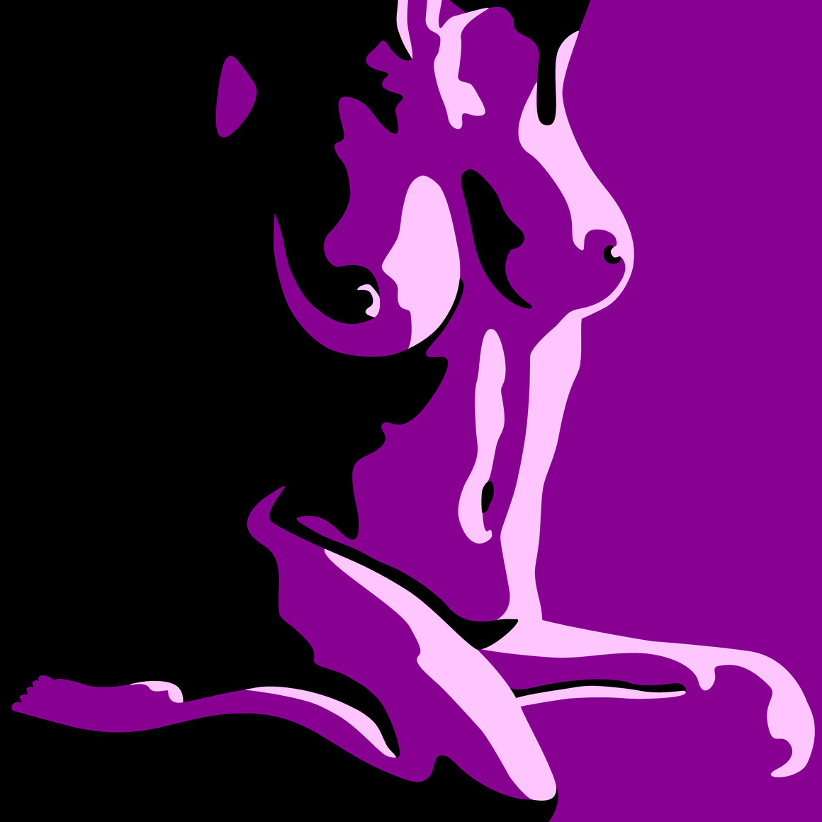 Nude Art Sitting Female - Black and Violet