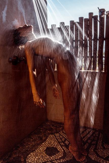 Marisa in the Shower at Playa Viva